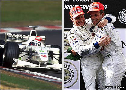 Johnny Herbert wins the 1999 European Grand Prix and celebrates with team-mate Rubens Barrichello