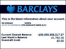 Donald Moffat's bank statement