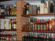 Whisky bottles in a Caracas liquor store