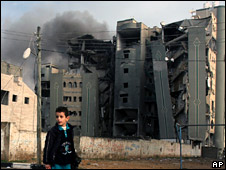 Bombed ministry building in Gaza