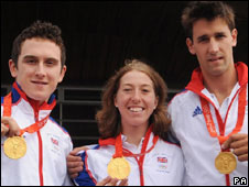 Geraint Thomas, Nicole Cooke and Tom James