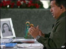 President Chavez speaks during his weekly address on 21 December 2008