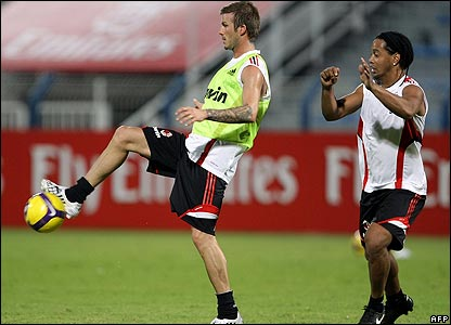 Ronaldinho Ac Milan. David Beckham and Ronaldinho