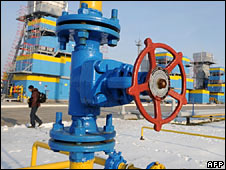 A man walks at the newly built Bobrovnytska gas-compressor and gas-holder station