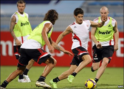 David Beckham, Paolo Maldini, Pato and Philippe Senderos