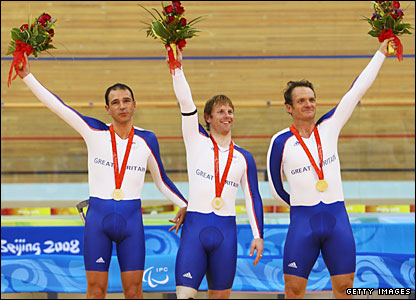 Paralympic cyclists Darren Kenny, Jody Cundy and Mark Bristow