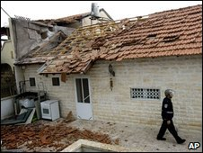Sderot house hit by a rocket, 30 December 2008