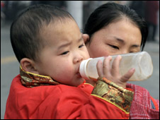 A baby drinks bottled milk in Chengdu, China, Dec 08