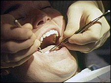 Dentist examining a woman's teeth