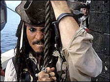 Johnny Depp in Pirates of The Caribbean: Curse of The Black Pearl