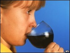 Child drinking wine