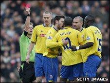 Ricardo Fuller is sent off at Upton Park