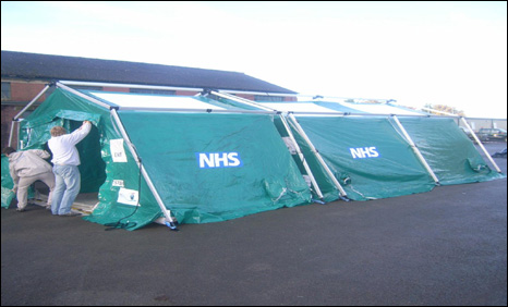 A tent like this one A tent like this one was used by ambulance crews in Cardiff