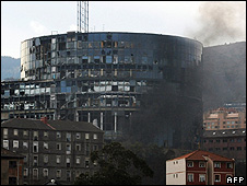 Smoke rises after car bomb blast near Basque EiTB television building in Bilbao, 31 Dec 08