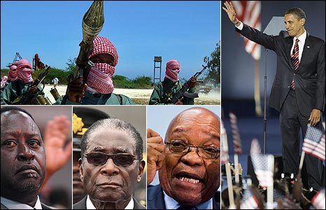 Composite L - R clockwise: al-Shabab fighters (AFP), Obama (AP), Zuma (AP), Mugabe (AP) and Odinga (AP)