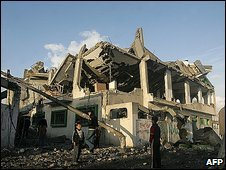 Bombed out buildings in Gaza