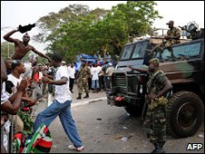 Armed police confront NDC supporters