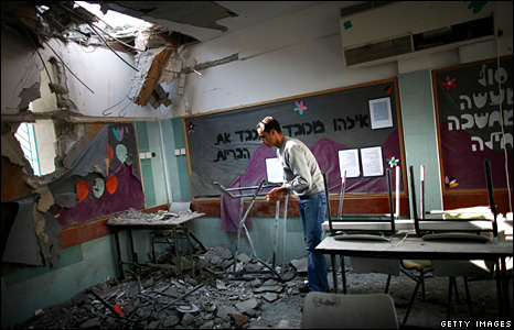Aftermath of rocket attack on Israeli school in Beersheba