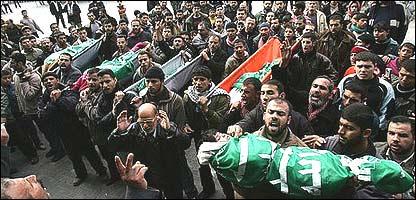 Funeral de cinco hermanas en el campo de Jabalia en Gaza