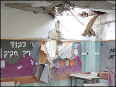 Bombed kindergarten in Beesheba, Israel, 31 December 2008