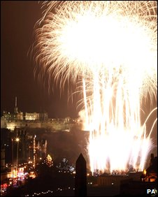 Firework display by Edinburgh Castle