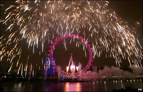 Fireworks over the River Thames in London