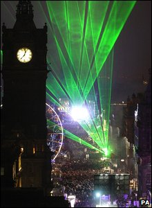 Light show in Edinburgh to mark the New Year