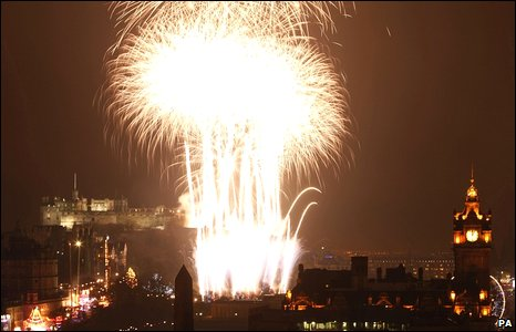 Fireworks mark the new year in Edinburgh