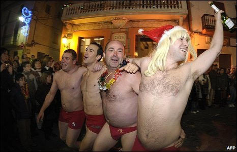 Revellers in their underwear, Valencia, Spain, 31 December 2008