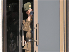 North Korean guard looks at the South, 2008