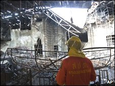 Fire official inspects remains of Santika nightclub, Bangkok, Thailand, 1 January 2009