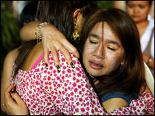 Two distressed women hug 1 Jan 2009
