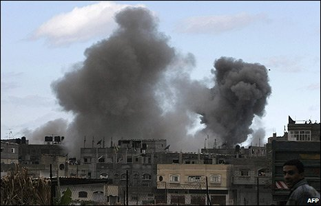 Smoke billows over Jabalia refugee camp in northern Gaza