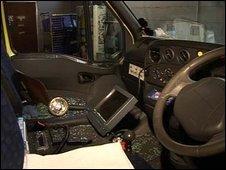 The damage inside the vandalised ambulance