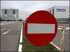 A stop sign at the Dacia factory