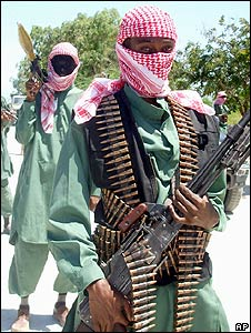 Somali al-Shabaab militia at a military training camp outside Mogadishu
