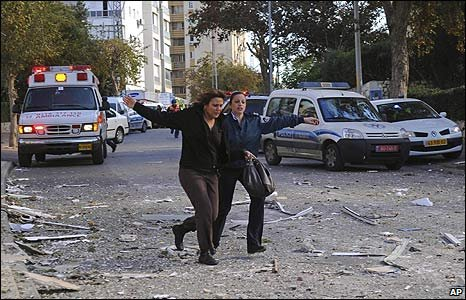 The scene of a rocket attack by militants in Gaza on the Israeli town of Ashdod