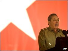 Raul Castro speaks in Santiago de Cuba, Cuba, 1 January 2009