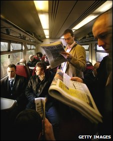 Commuters on train
