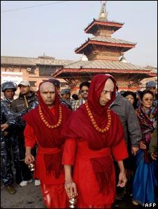 Nepali priests at the Pashupatinath temple on 1 January 2008