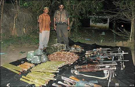 Weapons purportedly captured from government forces by Tamil Tiger rebels near Terumarikandi, south of Kilinochchi, on 12 December 2008 (Tamil Tiger handout)
