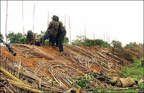 Tamil Tiger guerrillas allegedly in action in the north of the island on 11 December 2008 (Tamil Tiger handout)