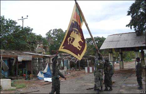 Government troops take Terumarikandi after heavy fighting with Tamil Tigers on 12 December 2008 (Sri Lankan Defence Ministry handout)