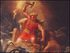 Thor's battle against the giants by Marten Eskil Winge