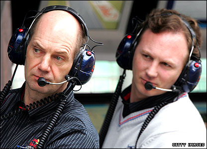 Adrian Newey (left) and Red Bull team boss Christian Horner