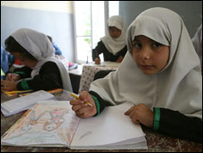 A girl in a Kabul school