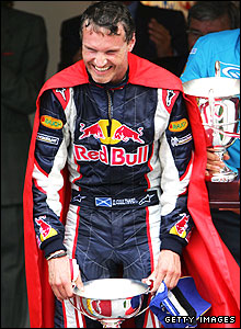 David Coulthard celebrates his third place at the 2006 Monaco Grand Prix