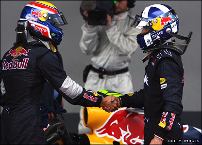 Red Bull's Mark Webber (left) congratulates team-mate David Coulthard at the Nurburgring in 2007