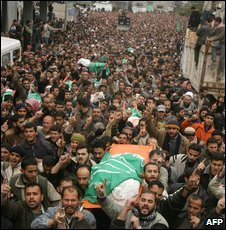 Funeral for Hamas leader Nizar Rayan on 2 January