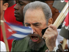 Fidel Castro shouting slogans during a ceremony on 26/07/2006 - his last public appearance to date